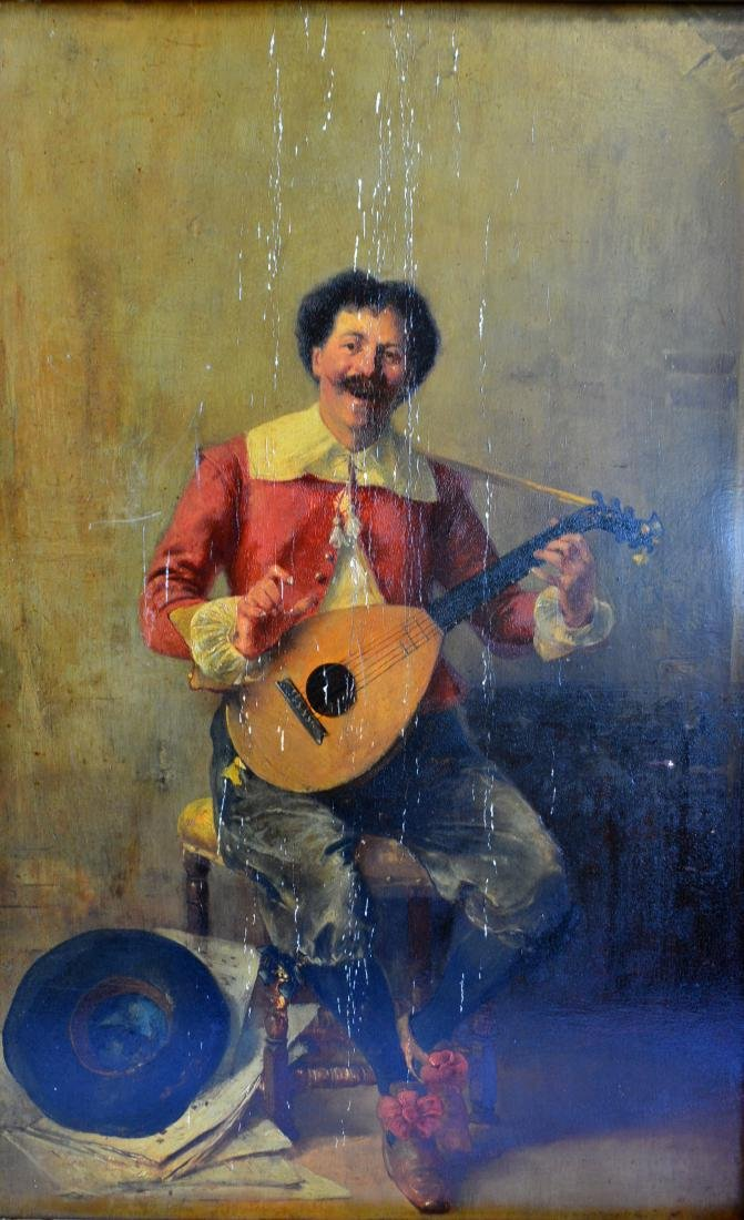 Oil on wood board depicting a seated Italian gentleman - 2