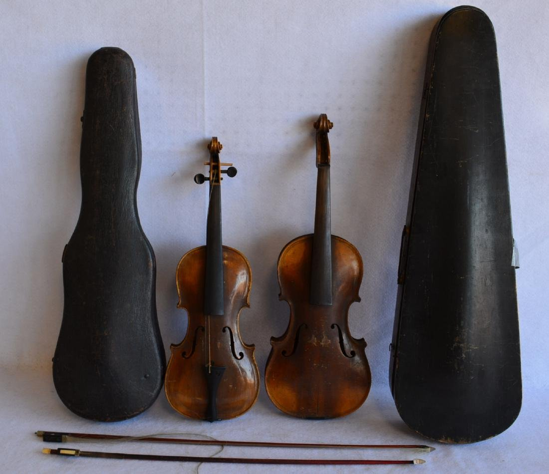 Two old violins: 1) Tiger maple neck and back, stamped