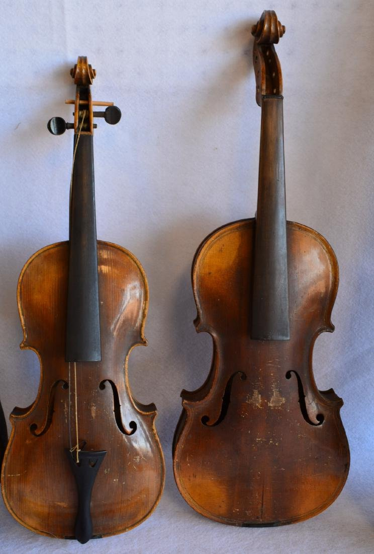 Two old violins: 1) Tiger maple neck and back, stamped - 2