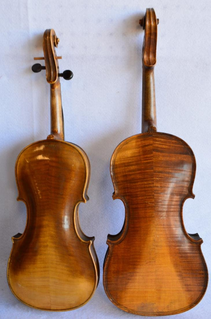 Two old violins: 1) Tiger maple neck and back, stamped - 3
