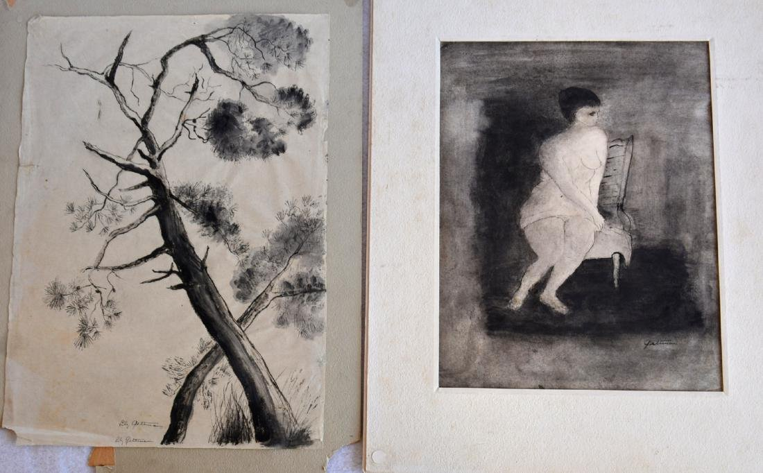 Two black and white watercolors signed Geltman (Lillian