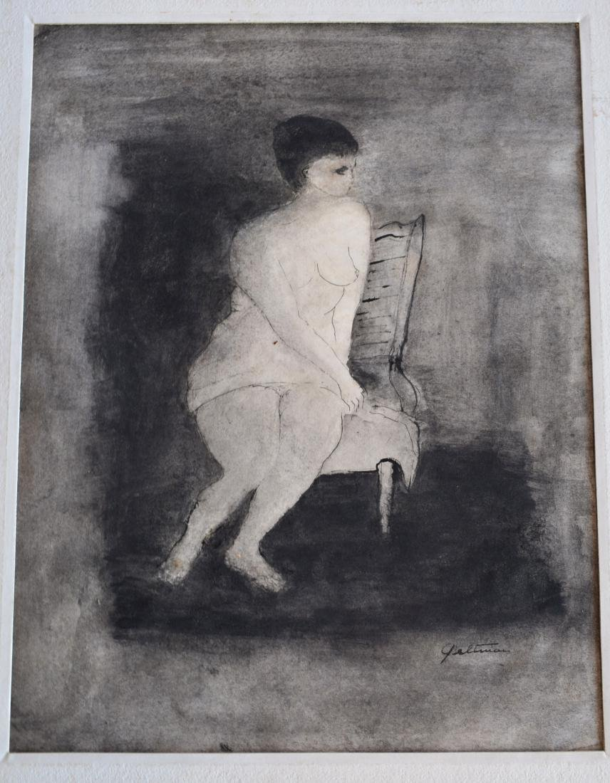 Two black and white watercolors signed Geltman (Lillian - 2