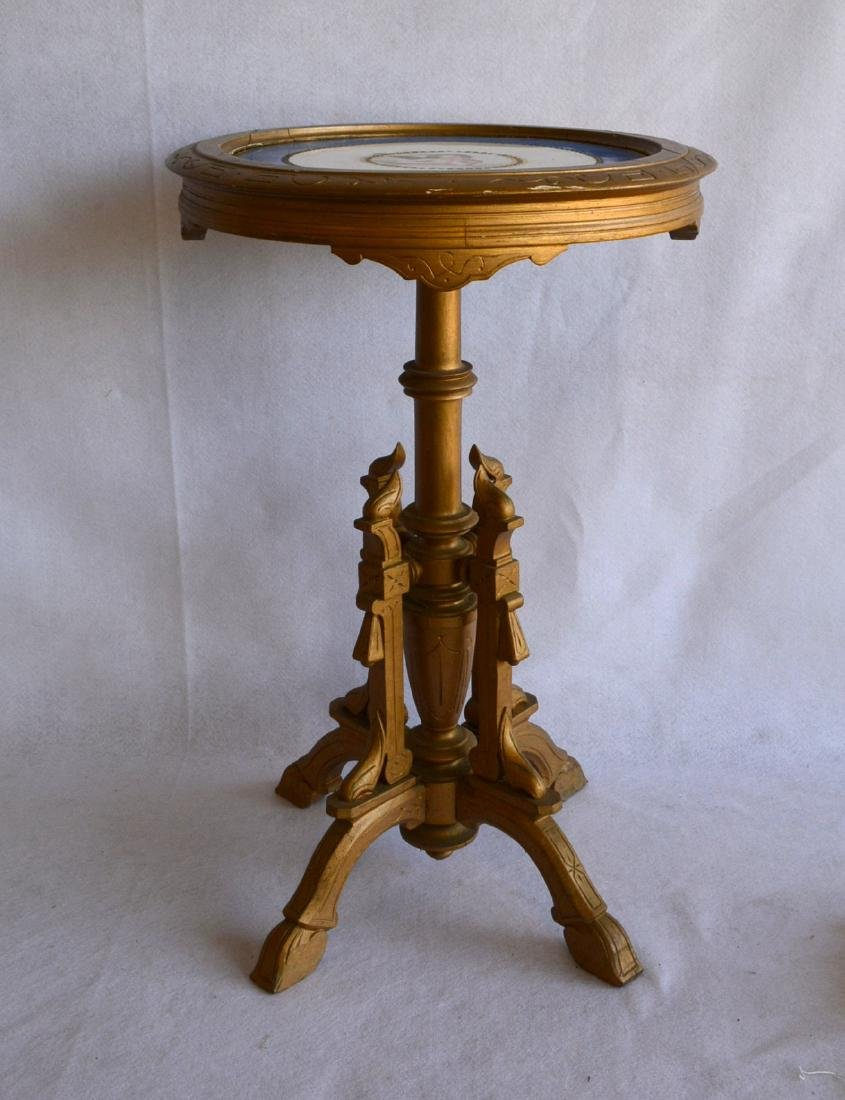 Unusual Victorian candlestand with porcelain insert in