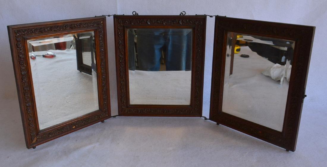 Folding 3 section oak dresser mirror with beveled