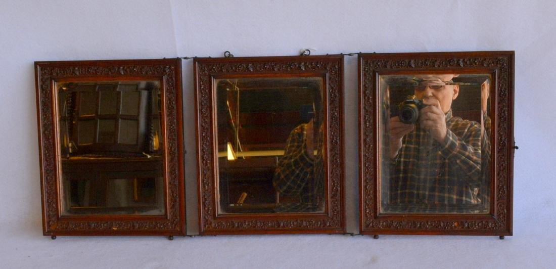 Folding 3 section oak dresser mirror with beveled - 2