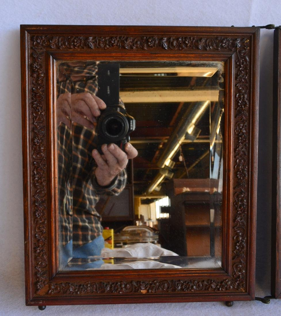 Folding 3 section oak dresser mirror with beveled - 3