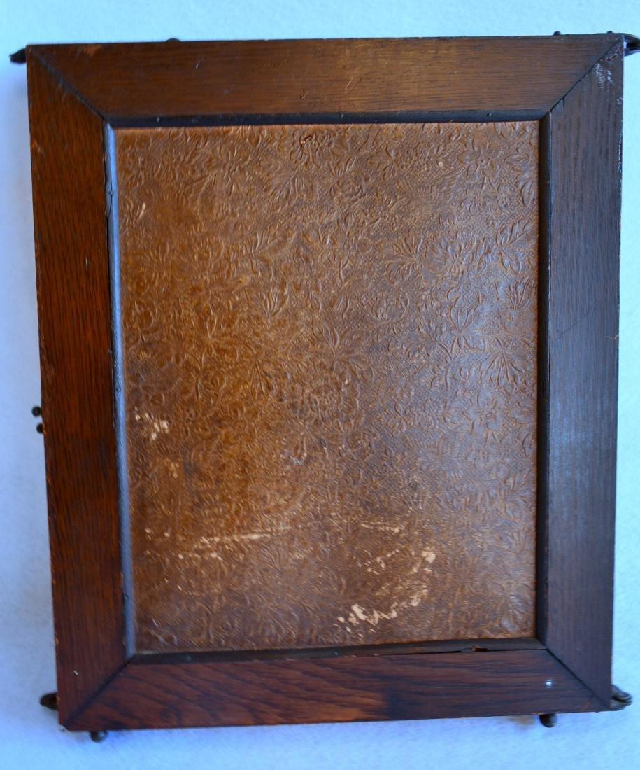 Folding 3 section oak dresser mirror with beveled - 4