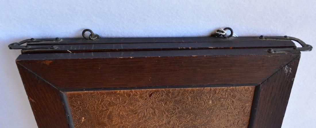 Folding 3 section oak dresser mirror with beveled - 5