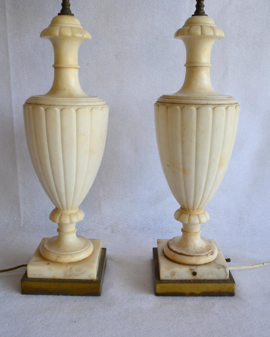 Matched pair of white marble table lamps, with urn - 2