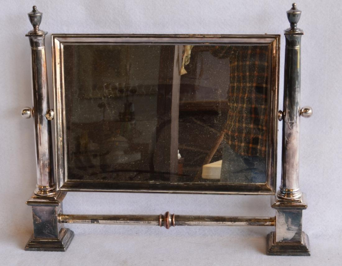 """Silver swivel dresser mirror, not marked. 17.25""""W x"""