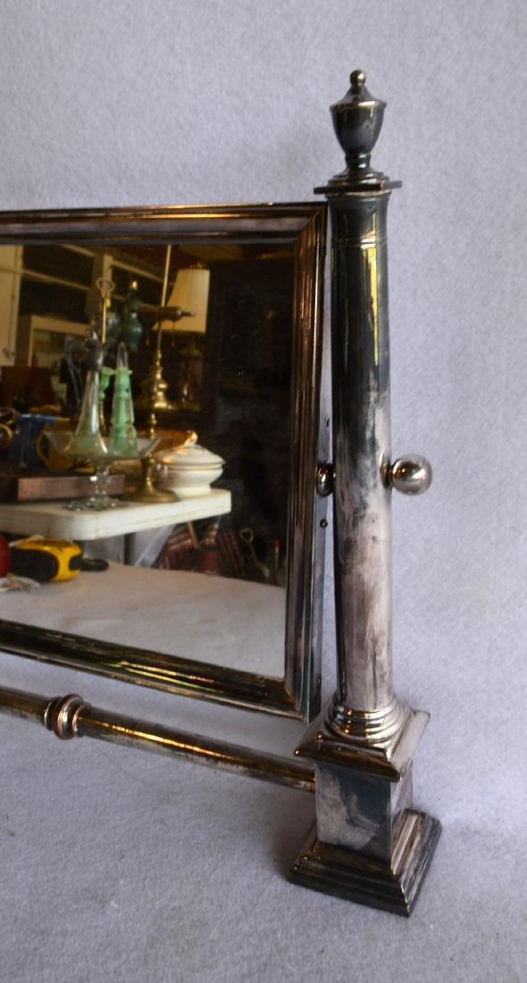 """Silver swivel dresser mirror, not marked. 17.25""""W x - 2"""