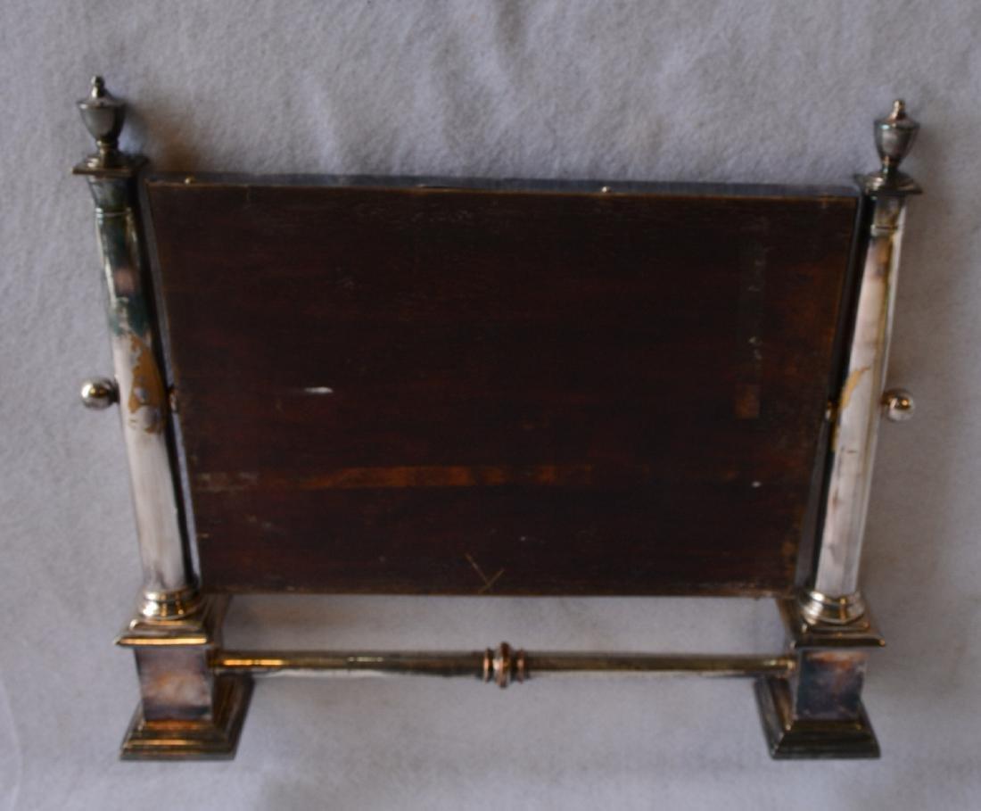 """Silver swivel dresser mirror, not marked. 17.25""""W x - 3"""