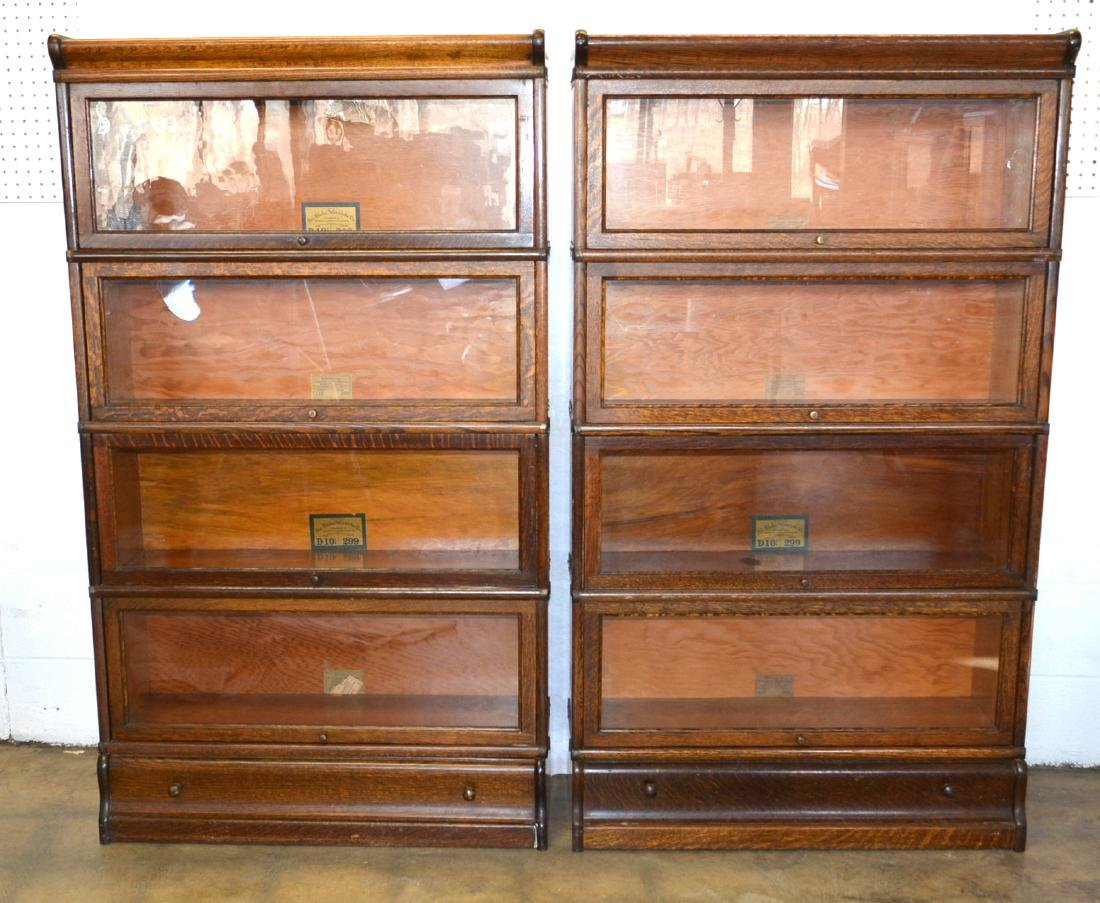 Two matching oak 4 section barrister bookcases with