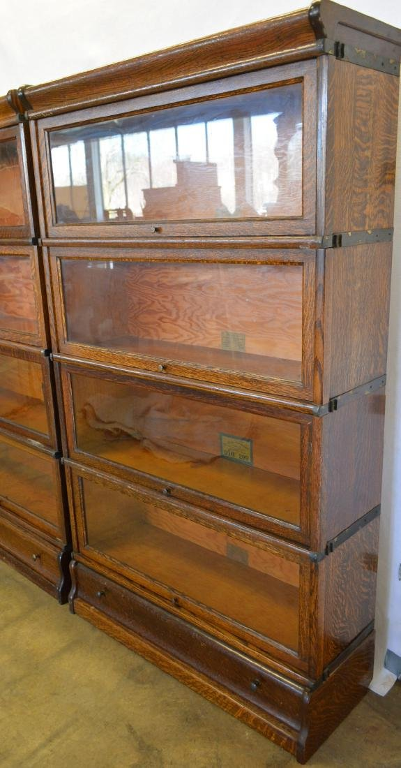 Two matching oak 4 section barrister bookcases with - 3