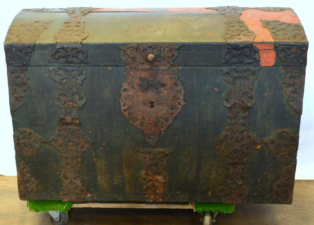 Rare 17th century dome top wooden storage chest with