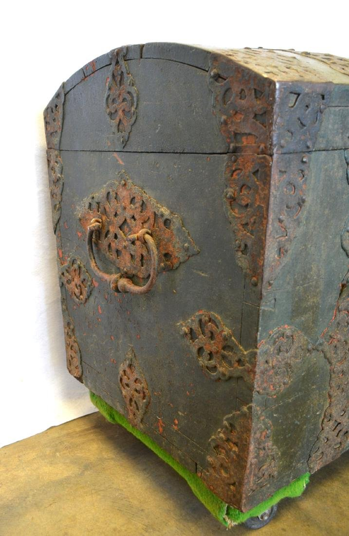 Rare 17th century dome top wooden storage chest with - 5