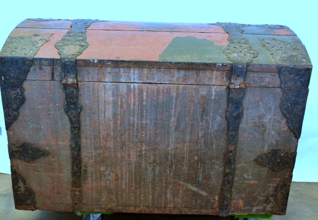 Rare 17th century dome top wooden storage chest with - 7