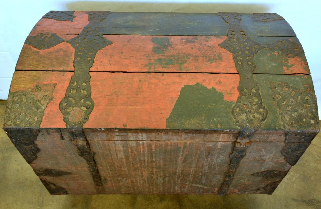 Rare 17th century dome top wooden storage chest with - 8