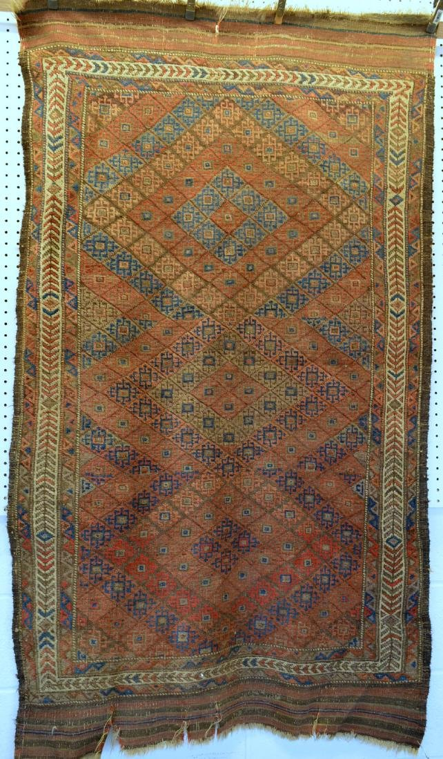 Oriental scatter rug, hand knotted – good condition –