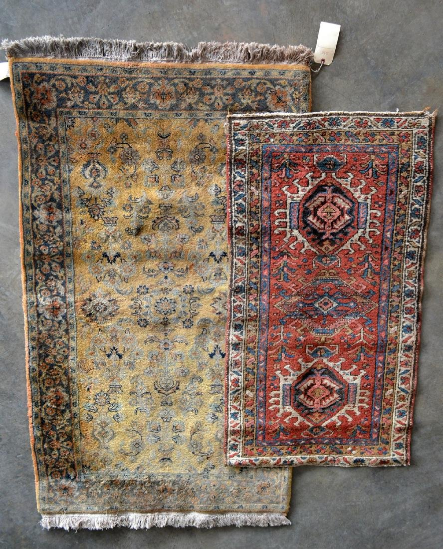 Two oriental scatter rugs, hand knotted, in good