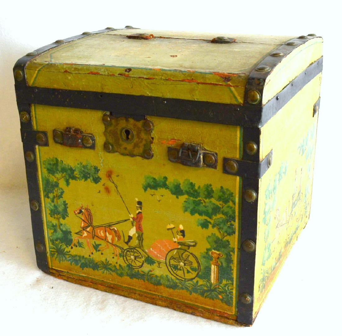 Small hand painted lady's traveling trunk, probably for