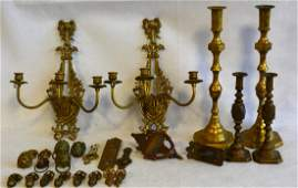 Large grouping of mostly brass decorative objects
