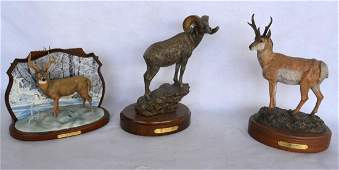 Grouping of 3 modern composition wildlife sculptures
