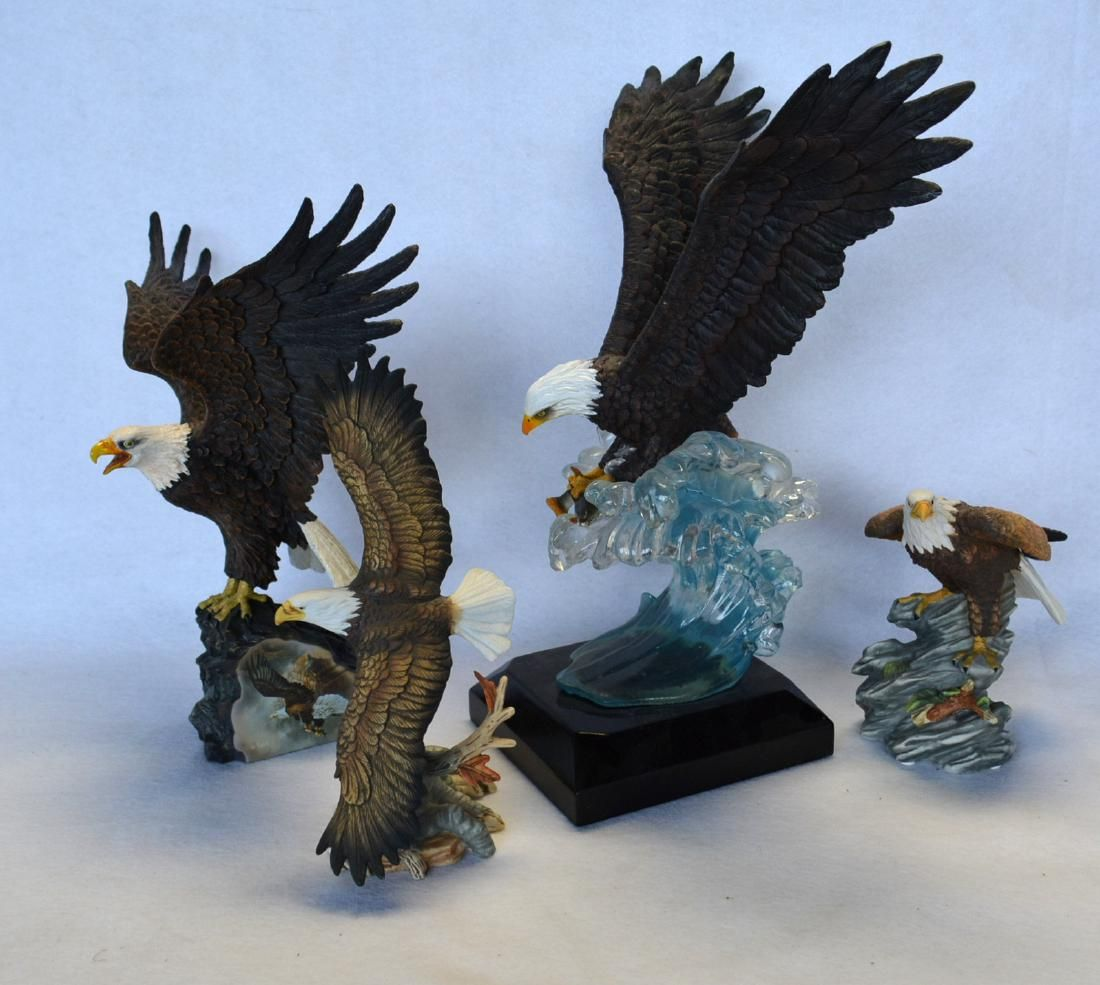 Grouping of 4 modern eagle composition sculptures by
