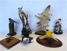 Grouping of 7 various modern colorful composition bird