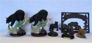 Grouping of 5 modern composition bear sculptures