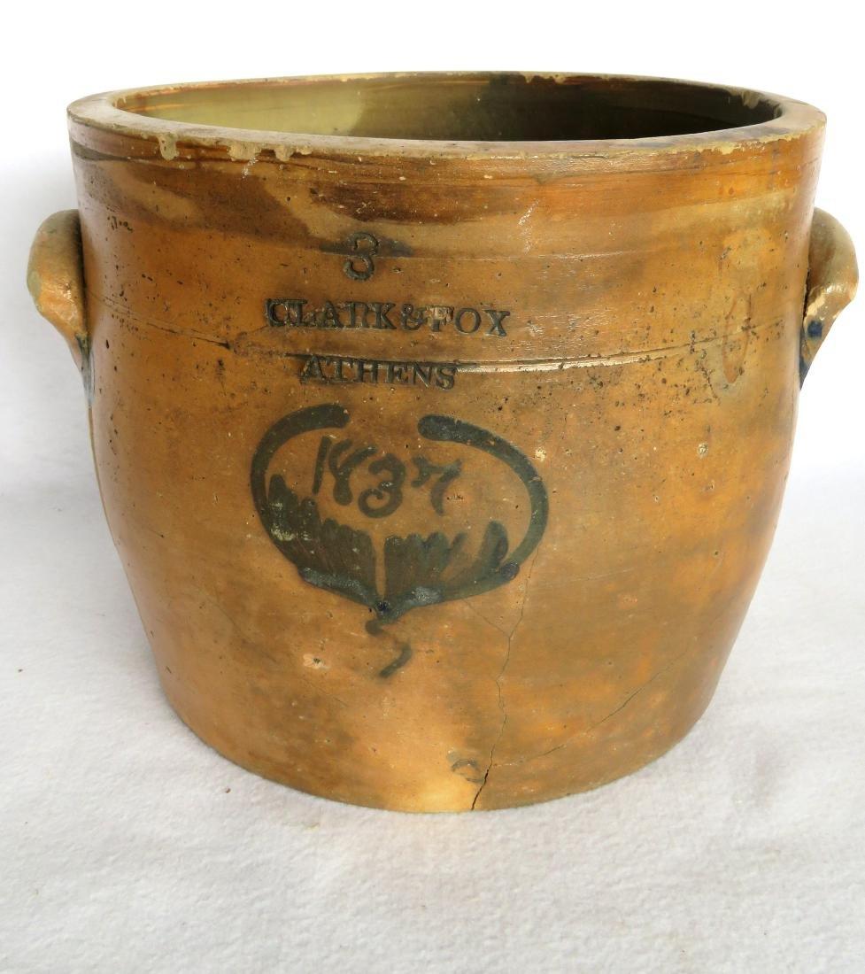 Three gallon crock marked Clark & Fox Athens with