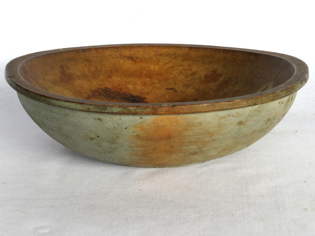 Very fine round treenware bowl in original slate blue