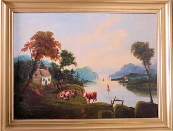 O/C Hudson River landscape with cows and farmhouse on