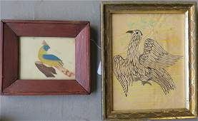 Two pieces of early childs art on paper including