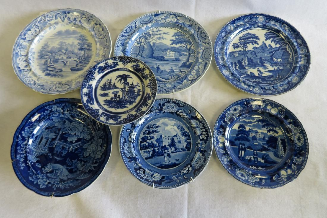 Grouping of 7 blue and white transferware dishes