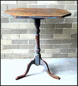 Painted snake foot birch candlestand, attributed to the