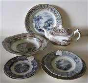Grouping of early Staffordshire transferware china