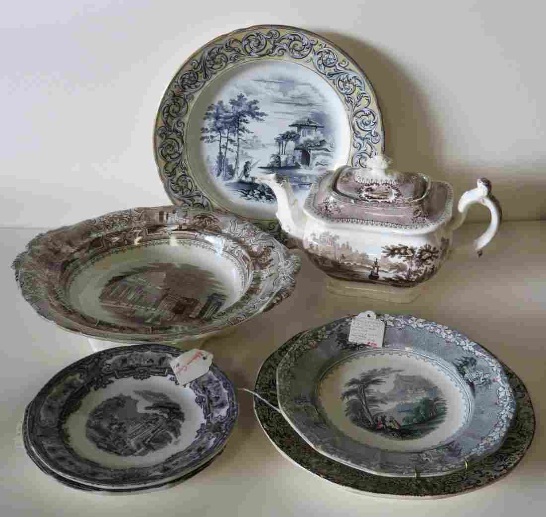 Grouping of early Staffordshire transferware china.