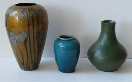 Three Arts & Crafts vases including a small blue art