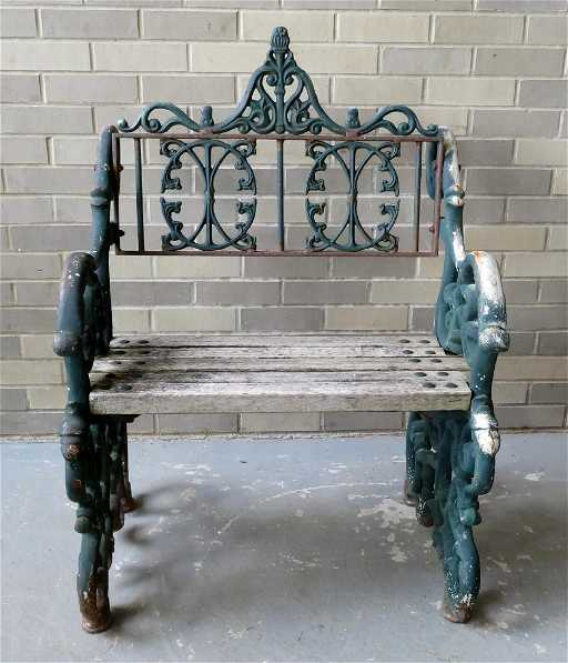Fancy Cast Iron Single Seat Park Bench Early To Mid