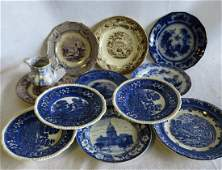 Grouping of 13 transferware plates and 1 blue and white
