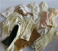 Grouping of vintage lady's gloves, including white