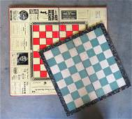 Two vintage Checkers folding board games including one