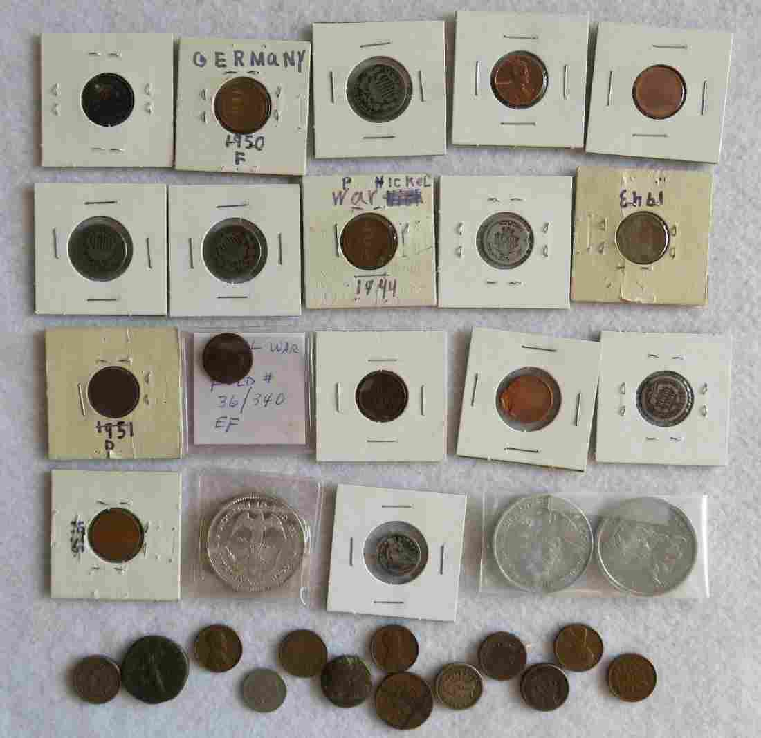 Grouping of coins including 4 Indian Head pennies