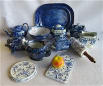 Grouping of 12 pieces of damaged flow blue china.
