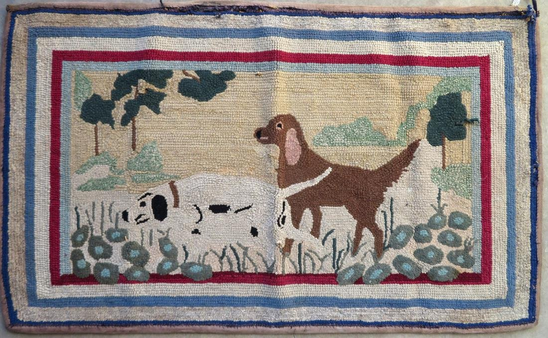 Pictorial hooked rug of 2 sporting dogs at point -