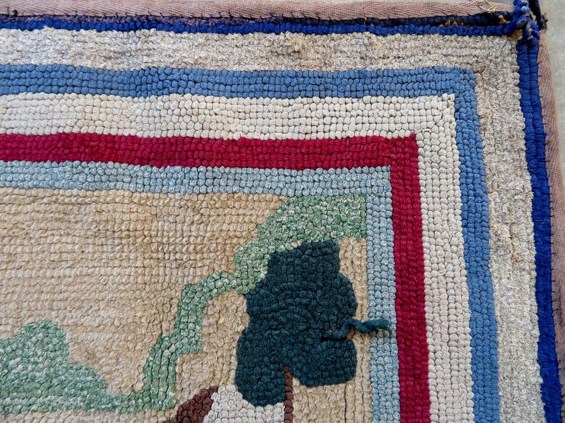 Pictorial hooked rug of 2 sporting dogs at point - - 3