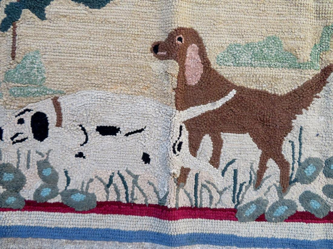 Pictorial hooked rug of 2 sporting dogs at point - - 4