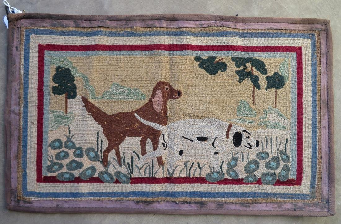 Pictorial hooked rug of 2 sporting dogs at point - - 5