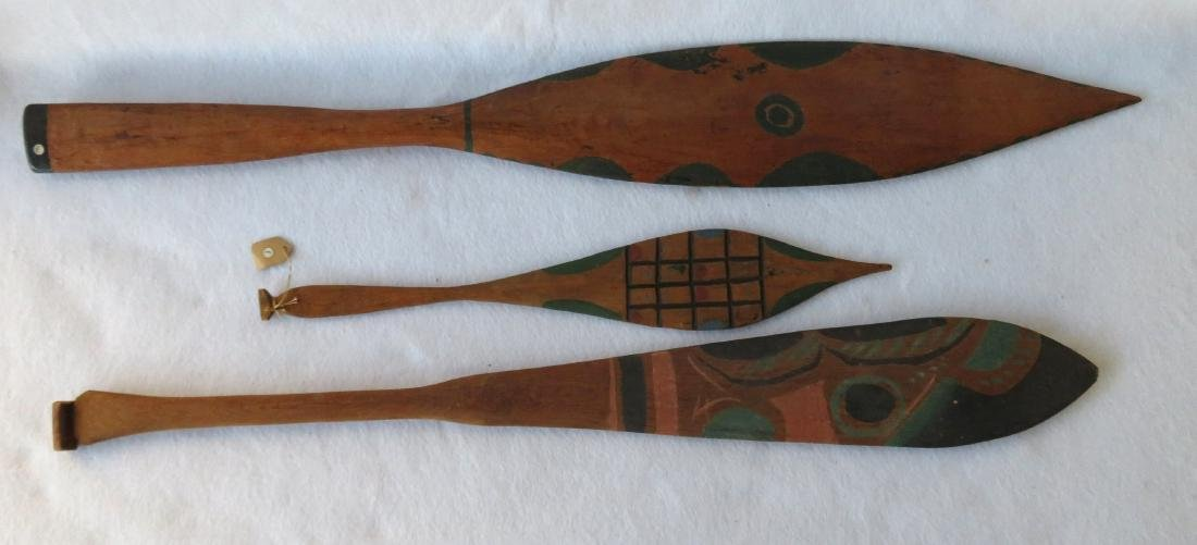 Grouping of 3 Northwest coast polychrome cedar dance
